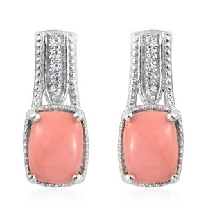 Oregon Peach Opal, Cambodian Zircon Platinum Over Sterling Silver Earrings TGW 2.19 cts.