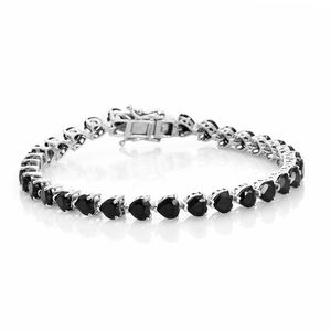 TLV Thai Black Spinel Platinum Over Sterling Silver Bracelet (7.25 In) TGW 14.20 cts.
