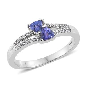 Premium AAA Tanzanite, Cambodian Zircon Platinum Over Sterling Silver Ring (Size 7.0) TGW 0.70 cts.