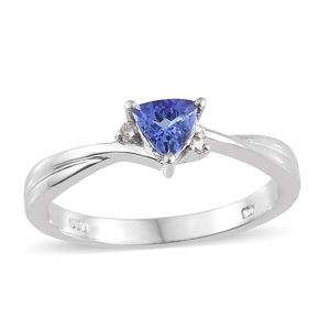 Premium AAA Tanzanite, Diamond Accent Platinum Over Sterling Silver Ring (Size 7.0) TGW 0.48 cts.