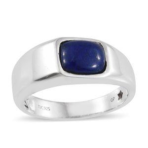 GP Lapis Lazuli, Kanchanaburi Blue Sapphire Platinum Over Sterling Silver Men's Ring (Size 12.0) TGW 3.18 cts.