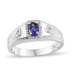 Premium AAA Tanzanite, Cambodian Zircon Platinum Over Sterling Silver Men's Ring (Size 13.0) TGW 0.80 cts.