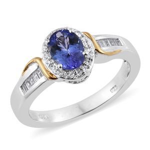 Premium AAA Tanzanite, Cambodian Zircon Vermeil YG and Platinum Over Sterling Silver Ring (Size 8.0) TGW 1.61 cts.