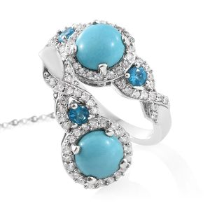 Arizona Sleeping Beauty Turquoise, Multi Gemstone Platinum Over Sterling Silver Ring (Size 5) and Pendant With Chain (20 in) TGW 5.21 cts.