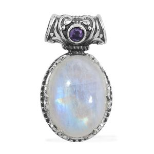 Artisan Crafted Sri Lankan Rainbow Moonstone, Amethyst Sterling Silver Pendant without Chain TGW 14.40 cts.