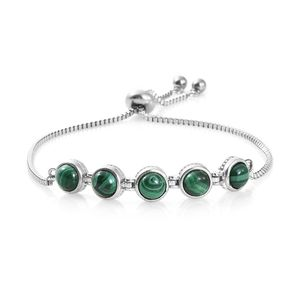 One Time Only KARIS Collection - African Malachite Platinum Bond Brass & Stainless Steel Bolo Bracelet (Adjustable) TGW 4.75 cts.