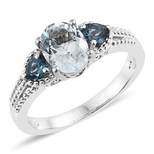 Espirito Santo Aquamarine, London Blue Topaz Platinum Over Sterling Silver Ring (Size 7.0) TGW 2.21 cts.