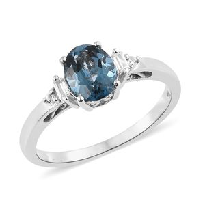 London Blue Topaz, Cambodian Zircon Platinum Over Sterling Silver Ring (Size 7.0) TGW 2.32 cts.