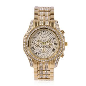 GENOA White Austrian Crystal Miyota Japanese Movement Water Resistant Watch in Goldtone with Stainless Steel Back