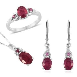 Niassa Ruby, Morro Redondo Pink Tourmaline Platinum Over Sterling Silver Earrings, Ring (Size 9) and Pendant With Chain (20 in) TGW 7.04 cts.