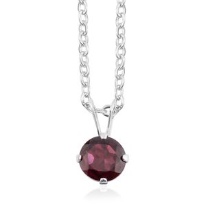 Indian Garnet Sterling Silver Pendant With Chain (18 in) TGW 0.92 cts.