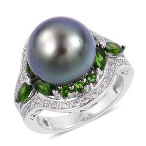Tahitian Pearl (11-12 mm), Multi Gemstone Sterling Silver Ring (Size 8.0) 0 TGW 1.89 cts.