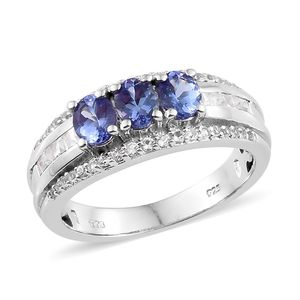 Premium AAA Tanzanite, White Topaz Platinum Over Sterling Silver Ring (Size 7.0) TGW 2.12 cts.