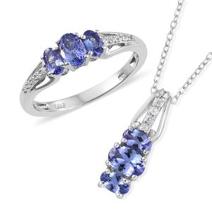 Premium AAA Tanzanite, Cambodian Zircon Platinum Over Sterling Silver Ring (Size 10) and Pendant With Chain (20 in) TGW 2.12 cts.