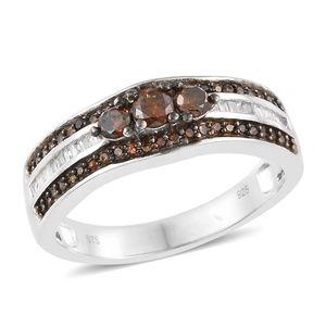 Red Diamond (IR), Diamond Black Rhodium & Platinum Over Sterling Silver Ring (Size 7.0) TDiaWt 0.75 cts, TGW 0.75 cts.