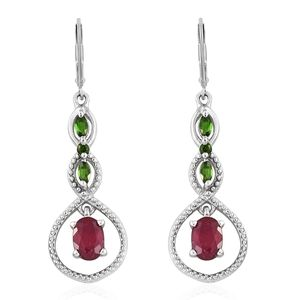 Niassa Ruby, Russian Diopside Platinum Over Sterling Silver Lever Back Inner Drop Earrings TGW 2.68 cts.