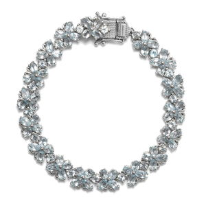 TLV Sky Blue Topaz Platinum Over Sterling Silver Bracelet (7.25 In) TGW 18.75 cts.