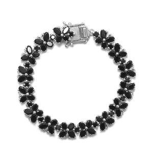 TLV Thai Black Spinel Platinum Over Sterling Silver Bracelet (6.50 In) TGW 21.25 cts.