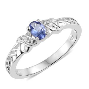 Premium AAA Tanzanite, Cambodian Zircon Platinum Over Sterling Silver Ring (Size 7.0) TGW 0.50 cts.