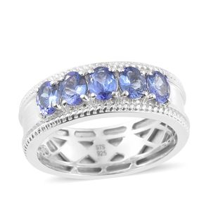 Premium AAA Tanzanite Platinum Over Sterling Silver 5 Stone Ring (Size 6.0) TGW 1.85 cts.
