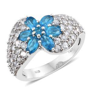 Malgache Neon Apatite, Cambodian Zircon Platinum Over Sterling Silver Flower Cluster Ring (Size 7.0) TGW 3.72 cts.