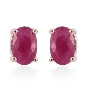 Burmese Ruby Vermeil RG Over Sterling Silver Oval Stud Earrings TGW 1.20 cts.