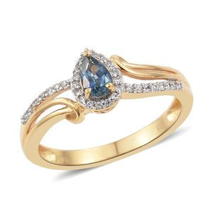 Montana Sapphire, Cambodian Zircon Vermeil YG Over Sterling Silver Ring (Size 8.0) TGW 0.77 cts.