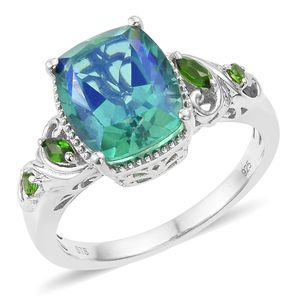 Peacock Quartz, Russian Diopside Platinum Over Sterling Silver Ring (Size 7.0) TGW 6.11 cts.