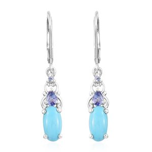 Arizona Sleeping Beauty Turquoise, Tanzanite Platinum Over Sterling Silver Lever Back Earrings TGW 2.56 cts.