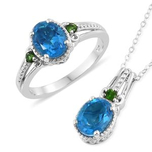 Caribbean Quartz, Russian Diopside Platinum Over Sterling Silver Ring (Size 7) and Pendant With Chain (20 in) TGW 4.27 cts.