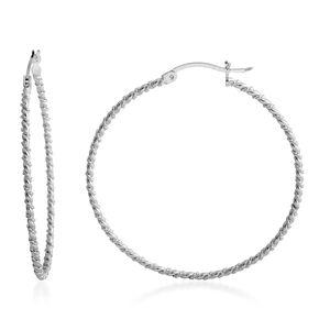 Sterling Silver Twisted Hoop Earrings (4.3g)