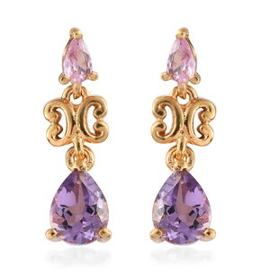 Rose De France Amethyst, Simulated Pink Diamond ION Plated YG Stainless Steel Earrings TGW 2.55 cts.