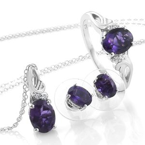 Lusaka Amethyst, Cambodian Zircon Platinum Over Sterling Silver Earrings, Ring (Size 5) and Pendant With Chain (20 in) TGW 4.67 cts.