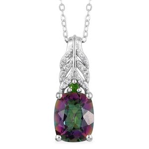 Northern Lights Mystic Topaz, Multi Gemstone Platinum Over Sterling Silver Pendant With Chain (20 in) TGW 3.87 cts.
