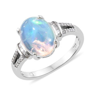 Ethiopian Welo Opal, Diamond Platinum Over Sterling Silver Ring (Size 6.0) TDiaWt 0.18 cts, TGW 3.58 cts.