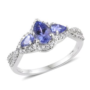 Premium AAA Tanzanite, Cambodian Zircon Platinum Over Sterling Silver Ring (Size 8.0) TGW 1.65 cts.