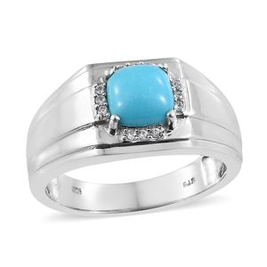 Arizona Sleeping Beauty Turquoise, Cambodian Zircon Platinum Over Sterling Silver Men's Signet Ring (Size 12.0) TGW 2.05 cts.