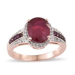 Niassa Ruby, Multi Gemstone Vermeil RG Over Sterling Silver Ring (Size 11.0) TGW 5.98 cts.