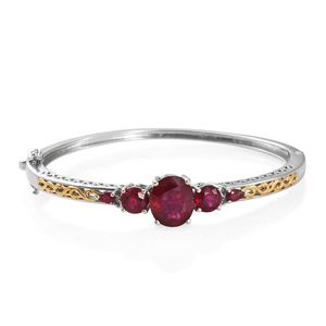Niassa Ruby 14K YG and Platinum Over Sterling Silver Openwork Bangle (7.25 in) TGW 13.73 cts.