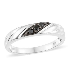 Black Diamond (IR) Platinum Over Sterling Silver Men's Ring (Size 9.0) TDiaWt 0.25 cts, TGW 0.25 cts.