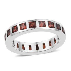 KARIS Collection - Mozambique Garnet Platinum Bond Brass Ring (Size 7.0) TGW 2.88 cts.