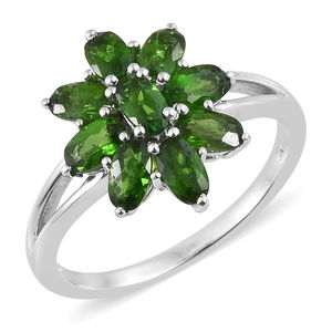 Doorbuster Russian Diopside Platinum Over Sterling Silver Ring (Size 5.0) TGW 2.36 cts.