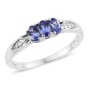 Premium AAA Tanzanite, Cambodian Zircon Platinum Over Sterling Silver Ring (Size 6.0) TGW 0.81 cts.