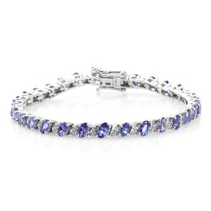 Premium AAA Tanzanite Platinum Over Sterling Silver Bracelet (7.25 In) TGW 7.50 cts.