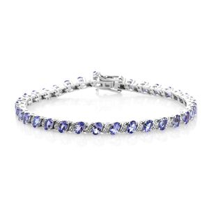 Premium AAA Tanzanite Platinum Over Sterling Silver Bracelet (8.00 In) TGW 8.25 cts.