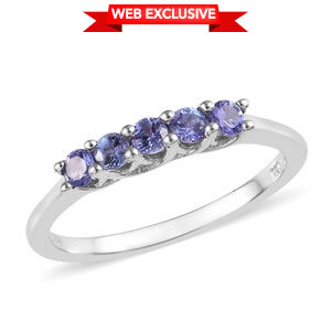 Premium AAA Tanzanite Platinum Over Sterling Silver 5 Stone Ring (Size 5.0) TGW 0.70 cts.