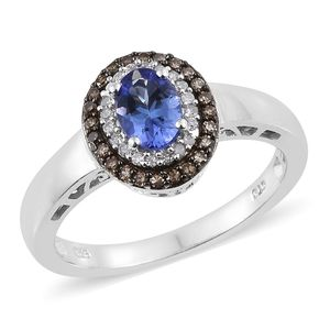 Premium AAA Tanzanite, Natural Champagne Diamond, Diamond Platinum Over Sterling Silver Ring (Size 7.0) TDiaWt 0.29 cts, TGW 1.04 cts.