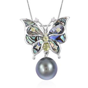 Tahitian Pearl (10-11 mm), Multi Gemstone Sterling Silver Pendant With Chain (18 in) TGW 0.41 cts.