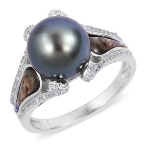 Tahitian Pearl (10-11 mm), Multi Gemstone Sterling Silver Ring (Size 7.0) TGW 0.29 cts.