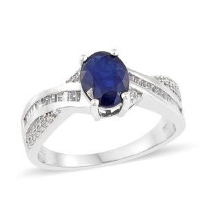 Masoala Sapphire, Multi Gemstone Platinum Over Sterling Silver Ring (Size 7.0) TGW 4.43 cts.